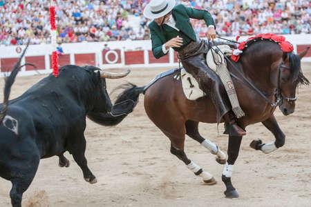 braveness: Linares, SPAIN - August 31, 2011: Diego Ventura, bullfighter on horseback spanish, Linares, Jaen, Spain