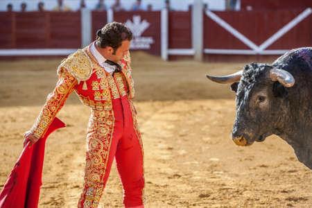bullring: Pozoblanco, Spain - September 24, 2010: The Spanish Bullfighter Antonio Ferrera bullfighting with the crutch in the Bullring of Pozoblanco, Spain Editorial