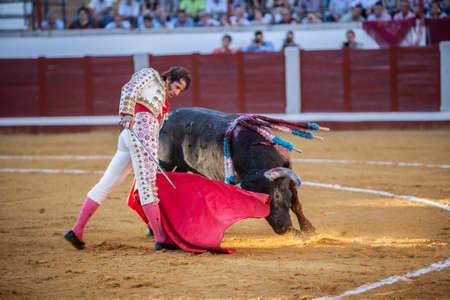 bullfighting: Pozoblanco, Spain - September 24, 2010: The Spanish Bullfighter Juan Jose Padilla bullfighting with the crutch in the Bullring of Pozoblanco, Spain