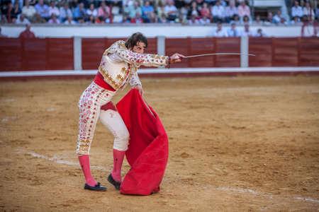 padilla: Pozoblanco, Spain - September 24, 2010: The Spanish Bullfighter Juan Jose Padilla preparing to enter to kill the bull in the Bullring of Pozoblanco, Spain