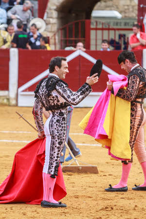 cid: Ubeda, Spain - October 4, 2011: The Spanish Bullfighter El Cid greeting the public with its cap in the hand in gratitude to its bullfight in the Bullring of Ubeda, Spain
