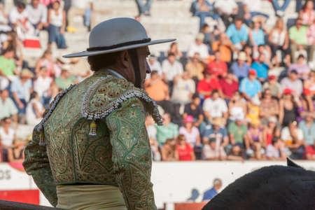 weaken: Jaen, Spain - September 12, 2008: Picador bullfighter, lancer whose job it is to weaken bulls neck muscles, in the bullring for Jaen, Spain Editorial