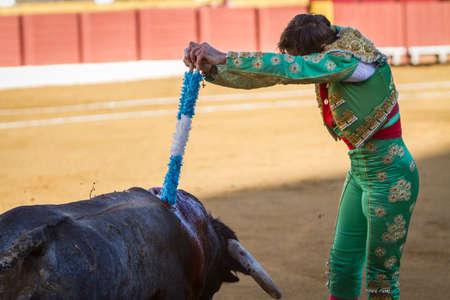padilla: Andujar, Spain - September 10, 2011: The Spanish Bullfighter Juan Jose Padilla with flags in each hand, classic of the taurine art movement in the Bullring of Andujar, Spain