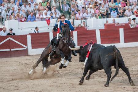 braveness: Linares, SPAIN - August 31, 2011: Pablo Hermoso de Mendoza, bullfighter on horseback spanish, Linares, Jaen province, Spain