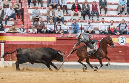 Jaen, SPAIN - October 13, 2008: Alvaro Montes, bullfighter on horseback spanish witch garrocha (blunt lance used on ranches), Jaen Spain