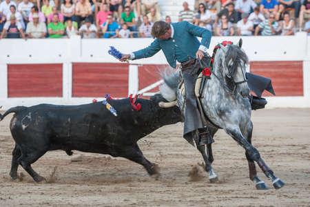 capote: Linares, SPAIN- august 31, 2011: Spanish bullfighter on horseback Fermin Bohorquez bullfighting on horseback, in Linares, Spain