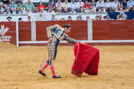 david fandila: Pozoblanco, Spain - September 23, 2011: The Spanish Bullfighter David Fandila El Fandi bullfighting with the crutch in the Bullring of Pozoblanco, Spain