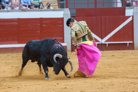 Pozoblanco, Spain - September 23, 2011: The Spanish Bullfighter Julian Lopez El Juli bullfighting with the crutch in the Bullring of Pozoblanco, Spain Imagens - 60600671