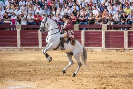 capote: Ubeda, SPAIN- October 2, 2010: Portuguese bullfighter on horseback Joao Moura  bullfighting in the bullring of Ubeda, Spain Editorial