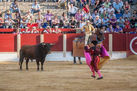 weaken: Ubeda, Spain - October 1, 2011: Picador bullfighter, lancer whose job it is to weaken bulls neck muscles, in the bullring for Ubeda, Spain