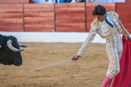 Jaen, SPAIN - October 17, 2010: The Spanish Bullfighter Curro Diaz greeting the public with its cap in the hand in gratitude to its bullfight in the Bullring of Jaen, Spain