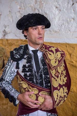 spainish: Andujar, SPAIN - September 7, 2014: Spainish bullfighter Miguel Abellan totally focused moments before leaving to fight in Bullring of Andujar, Spain Editorial