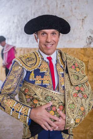 manuel: Andujar, SPAIN - September 7, 2014: The spanish bullfighter Manuel Benitez El Cordobes to smile at the paseillo or initial parade Bullfight at Andujar bullring, Andujar, Spain