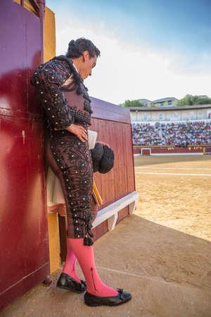 spainish: Andujar, SPAIN - September 7, 2014: Spainish bullfighter totally focused moments before leaving to fight in Bullring of Andujar, Spain