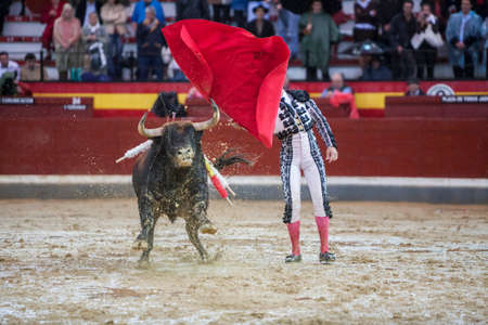 cid: Jaen, SPAIN - October 18, 2008: The Spanish Bullfighter Manuel Jesus El Cid during a rainy afternoon bullfighting with the crutch in the Bullring of Jaen, Spain Editorial