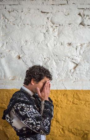 torero: Andujar, SPAIN - September 7, 2014: Spainish bullfighter Miguel Abellan totally focused moments before leaving to fight in Bullring of Andujar, Spain Editorial