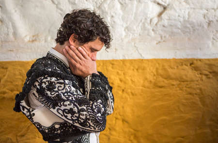 Andujar, SPAIN - September 7, 2014: Spainish bullfighter Miguel Abellan totally focused moments before leaving to fight in Bullring of Andujar, Spain Editorial