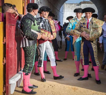 bullfighters: Andujar, SPAIN - September 7, 2014: Spanish bullfighters at the paseillo or initial parade in Andujar, Jaen province, Spain