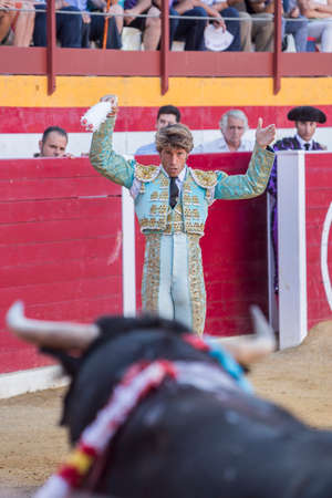 bullfight: Sabiote, Spain - August 23, 2014: The Spanish Bullfighter Manuel Escribano putting flags during a bullfight in the Bullring of Sabiote, Spain Editorial