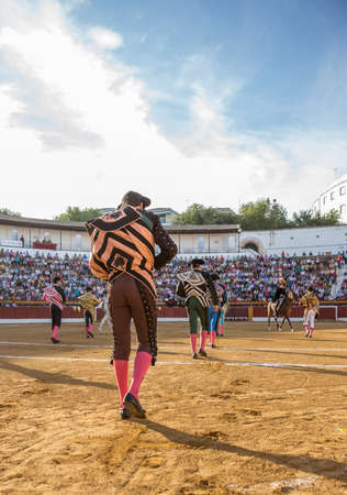 bullfighters: Andujar, SPAIN - September 7, 2014: Spanish bullfighters at the paseillo or initial parade in bullring of Andujar, Spain Editorial