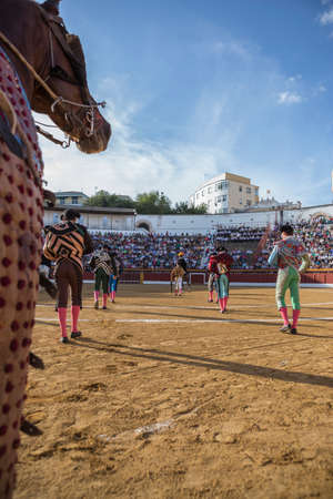 Andujar, SPAIN - September 7, 2014: Spanish bullfighters at the paseillo or initial parade in bullring of Andujar, Spain Editorial