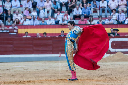 Jaen, SPAIN - October 15, 2011: The Spanish Bullfighter Jose Carlos Venegas bullfighting with the crutch in the Bullring of Jaen, Spain