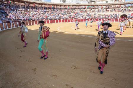 bullfighters: Ubeda, SPAIN - September 29, 2010: Spanish bullfighters at the paseillo or initial parade in bullring of Ubeda, Spain