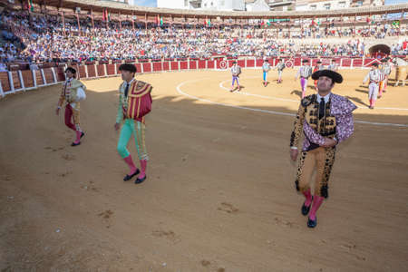 Ubeda, SPAIN - September 29, 2010: Spanish bullfighters at the paseillo or initial parade in bullring of Ubeda, Spain