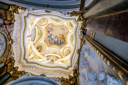 coronation: CUENCA, SPAIN - August 24, 2016: Interior of the Cathedral of Cuenca, Capilla del Pilar, central part of the vault of the lantern of the Chapel, painting in fresco of the coronation of the Virgin. Cuenca, heritage of humanity, Spain