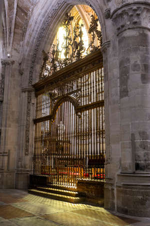 CUENCA, SPAIN - August 24, 2016: Inside the Cathedral of Cuenca, main grille of the Main Chapel, was conducted between the years 1,511 and 1,516, the work of rejero Juan French, which reflects the time of transition between the gothic and renaissance, Cue Editorial