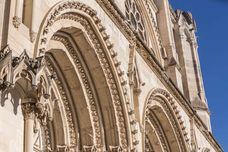 Detail of facade of the Cuencas Cathedral, The cathedral is dedicated to St Julian, gothic english-norman style, XII century Editorial