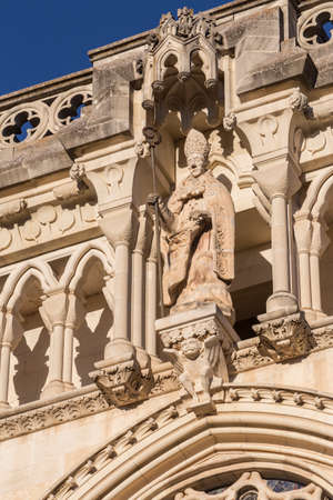 century: Detail of facade of the Cuencas Cathedral, The cathedral is dedicated to St Julian, gothic english-norman style, XII century Editorial