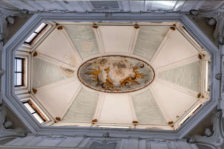 patrimony: CUENCA, SPAIN - August 24, 2016: Interior of the cathedral of Cuenca, skylight of the Chapter Room realized in the year 1.772 for Jose Martin de Aldehuela, Cuenca, Patrimony of the humanity, Spain