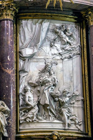 high altar: CUENCA, SPAIN - August 24, 2016: Interior of the cathedral of Cuenca, detail of Major Chapel or High altar Closed by three grills, Constructed in marble of carrara and jasper, the marble was worn out for Blas de Renteria, the sculptures and reliefs of the Editorial