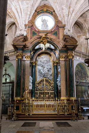 in unison: CUENCA, SPAIN - August 24, 2016: Inside the Cathedral of Cuenca, Chapel New of San Julian or the transparent, is situated in the heart of the Ambulatory in the trasaltar mayor, was carried out in unison as the High Altar, between 1,753 and 1,760, design o