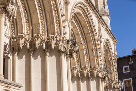 Detail of facade of the Cuencas Cathedral, The cathedral is dedicated to St Julian, gothic english-norman style, XII century Stock Photo