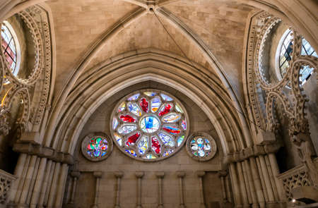 mancha: CUENCA, SPAIN - August 24, 2016: Detail of stained glass window in the interior of the Cathedral of Our Lady of Grace and Saint Julian of Cuenca. Castilla-La Mancha, Spain Editorial