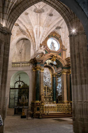 in unison: CUENCA, SPAIN - August 24, 2016: Inside the Cathedral of Cuenca, Chapel New of San Julián or the transparent, is situated in the heart of the Ambulatory in the trasaltar mayor, was carried out in unison as the High Altar, between 1,753 and 1,760, design  Editorial