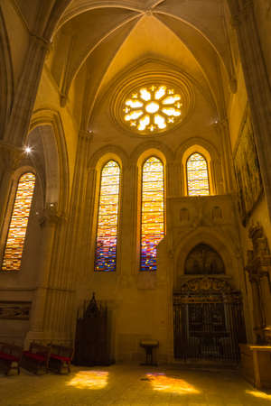 spanish architecture: CUENCA, SPAIN - August 24, 2016: Detail of stained glass window in the interior of the Cathedral of Our Lady of Grace and Saint Julian of Cuenca. Castilla-La Mancha, Spain Editorial