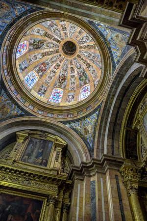 CUENCA, SPAIN - August 24, 2016: Interior of the Cathedral of Cuenca, Chapel of Nuestra Señora del Sagrario, was erected between 1.629 and 1655 as proyecto de el arquitecto Fray Alberto de la Madre de Dios, shaped plant Greek cross and skylight Dome, the