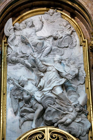 holiness: CUENCA, SPAIN - August 24, 2016: Interior of the Cathedral of Cuenca, new Chapel of San Julián or the transparent, detail in white marble high relief with the episode from the life of San Julian corresponds to the time that receive the Palm of Holiness f