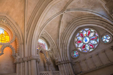 CUENCA, SPAIN - August 24, 2016: Detail of stained glass window in the interior of the Cathedral of Our Lady of Grace and Saint Julian of Cuenca. Castilla-La Mancha, Spain Editorial