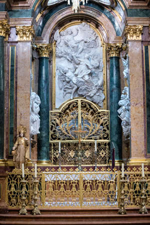 high altar: CUENCA, SPAIN - August 24, 2016: Inside the Cathedral of Cuenca, Chapel New of San Julián or the transparent, is situated in the heart of the Ambulatory in the trasaltar mayor, was carried out in unison as the High Altar, between 1,753 and 1,760, design
