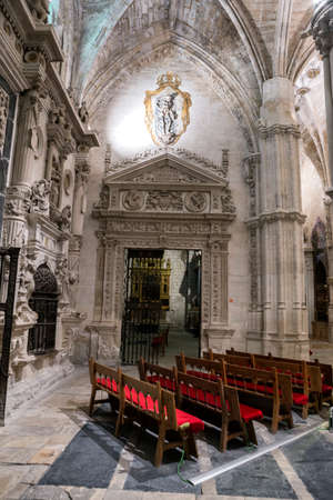 plateresque: CUENCA, SPAIN - August 24, 2016: Inside of the Cathedral of basin, Chapel of them Knights, the factory of the Chapel is conformed, being its structure Gothic and the decoration plateresque, basin, heritage of the humanity, Spain