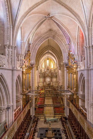 CUENCA, SPAIN - August 24, 2016: Interior of the cathedral of Cuenca, Grill of the Choir, Renaissance grill that closes the choir is of the middle of the XVIth century, locksmith of Cuenca Hernando de Arenas acts of the maker. Cuenca, Patrimony of the hum Editorial
