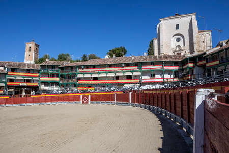 Main square of Chinchon converted into bullring during the celebration that takes place every year during more than a century, Chinchon, Spain Editorial