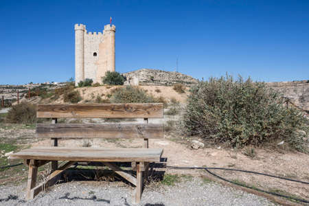 fortitude: Alcala del Jucar, Spain - October 29, 2016: Castle of Almohad origin of the century XII, take in Alcala of the Jucar, Albacete province, Spain