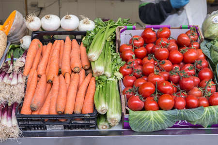 Farmers food market stall with variety of organic vegetable, Cadiz, Spain