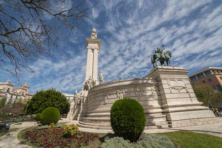 Cadiz Spain- April 1: Monument to the Constitution of 1812, panoramic view, Cadiz, Andalusia, Spain Editorial