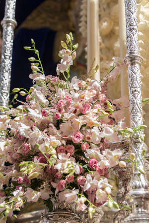 Detail of floral ornamentation on a throne of Holy week, Linares, Andalusia, Spain